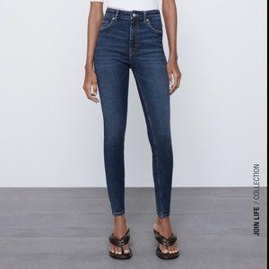 zara hi-rise skinny jeans navy